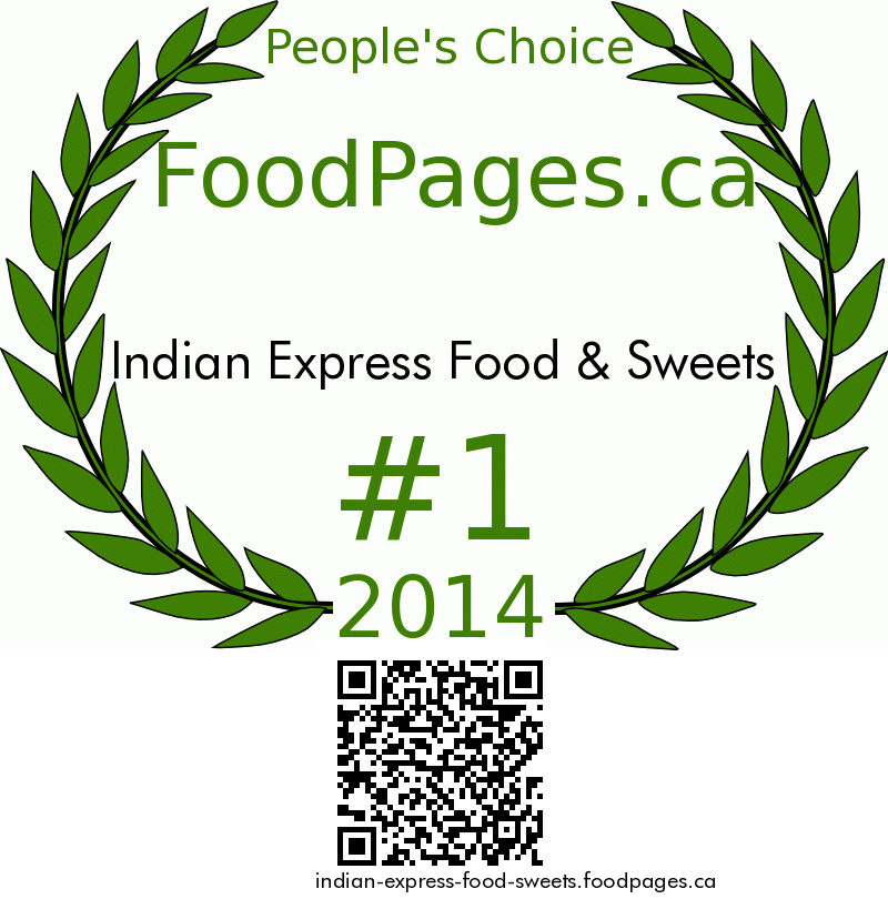 Indian Express Food & Sweets FoodPages.ca 2014 Award Winner